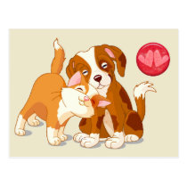 Cat and Dog Pals Valentine Postcard