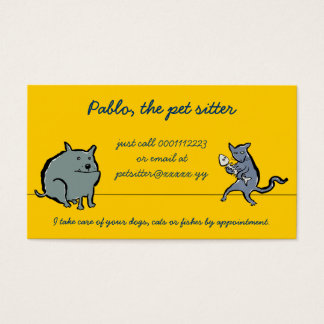 cat and dog (pet sitting) business card
