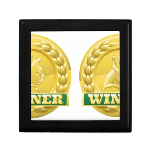 Cat and dog pet winners medals gift box