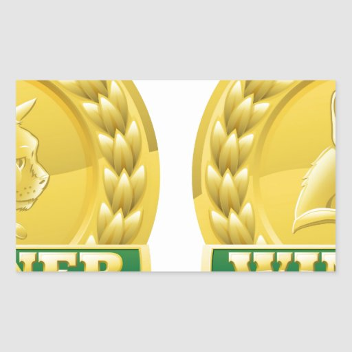 Cat and dog pet winners medals rectangle stickers