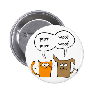 cat and dog pinback button