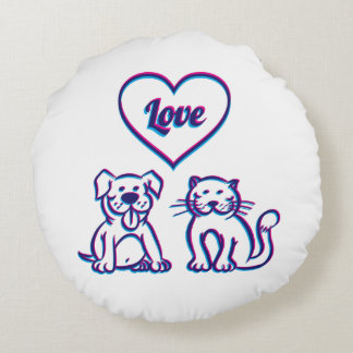 Cat and dog round pillow