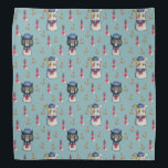 """Cat and Dog Sailors Nautical Watercolor Pattern Bandana<br><div class=""""desc"""">This is an illustration of a cat and dog dressed in sailor suits. It was colored in watercolor and made into a pattern. There is also an anchor and lighthouse in the background.</div>"""