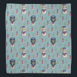 """Cat and Dog Sailors Nautical Watercolor Pattern Bandana<br><div class=""""desc"""">Watercolor Illustration of a cat and dog dressed in sailor suits made into a nautical pattern.There is also an anchor and lighthouse in the background. Great for animal lovers.</div>"""