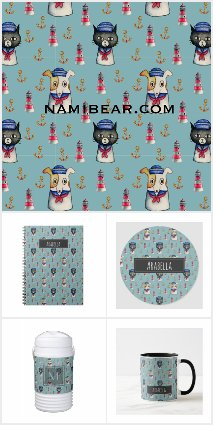 Cat and Dog Sailors Watercolor Pattern