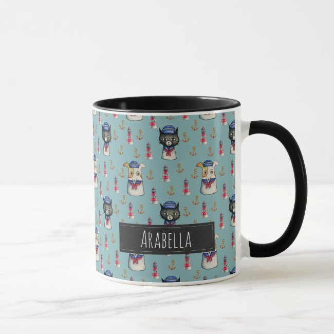 Cat and Dog Sailors Watercolor Pattern with Name