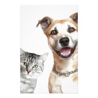 Cat and Dog Says Hey Custom Stationery