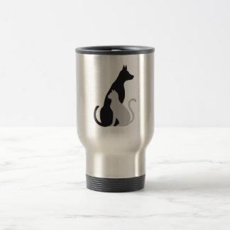 cat and dog silhouette travel mug