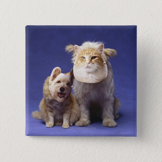 Cat and dog with masks button