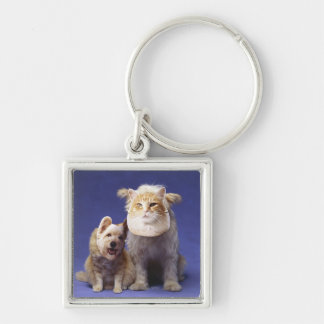 Cat and dog with masks keychain