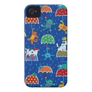 Cat and dogs raining umbrella animal pets feline f iPhone 4 case
