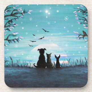 Cat and dogs Winter Sunset Coaster
