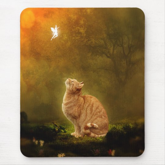 Cat And Fairy Mouse Pad
