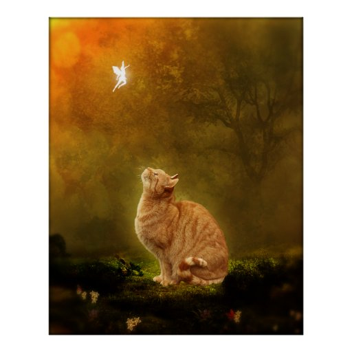 Cat And Fairy Poster