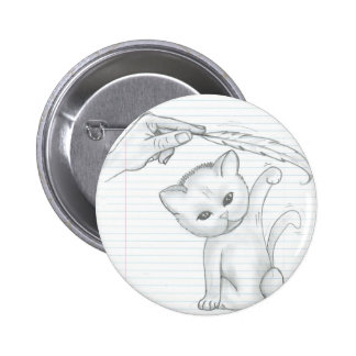 Cat And Feather 2 Inch Round Button