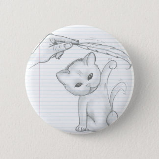 Cat And Feather Button