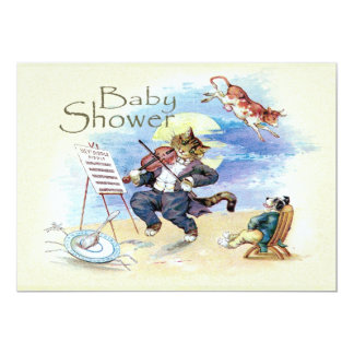 Cat and Fiddle Baby Shower Yellow Vintage 5x7 Paper Invitation Card