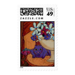 Cat and Figs Postage Stamps
