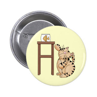 Cat and Fish Bowl 2 Inch Round Button