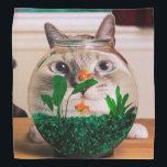 """Cat and fish - cat - funny cats - crazy cat bandana<br><div class=""""desc"""">fish , pet , aquarium , kitty , &quot;tabby cat&quot; , kittens , &quot;cute cats&quot; , &quot;cat face&quot; , &quot;cat pet&quot; , &quot;cat aquarium &quot;</div>"""
