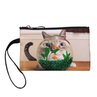 Cat and fish - cat - funny cats - crazy cat coin wallet