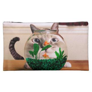 Cat and fish - cat - funny cats - crazy cat cosmetic bag