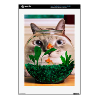 Cat and fish - cat - funny cats - crazy cat decal for PS3 console
