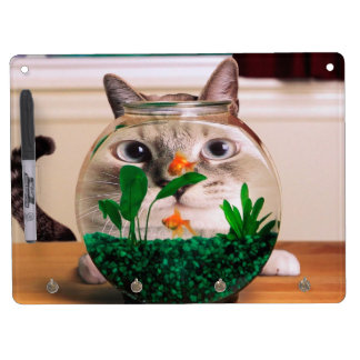 Cat and fish - cat - funny cats - crazy cat dry erase board with keychain holder
