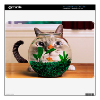 Cat and fish - cat - funny cats - crazy cat skin for the MacBook