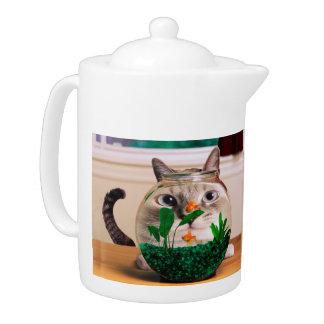 Cat and fish - cat - funny cats - crazy cat teapot