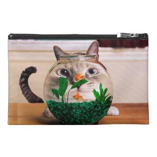Cat and fish - cat - funny cats - crazy cat travel accessory bag