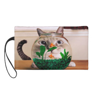 Cat and fish - cat - funny cats - crazy cat wristlet purse
