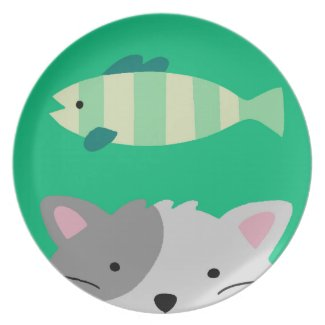 Cat and Fish Dinner Plates