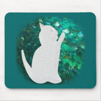 Cat and fish mouse pad