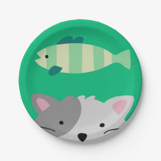 Cat and Fish Paper Plate