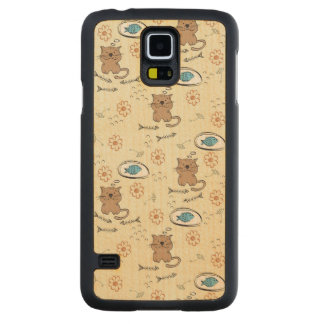cat and fish pattern carved maple galaxy s5 case