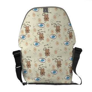 cat and fish pattern courier bag