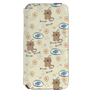 cat and fish pattern iPhone 6/6s wallet case