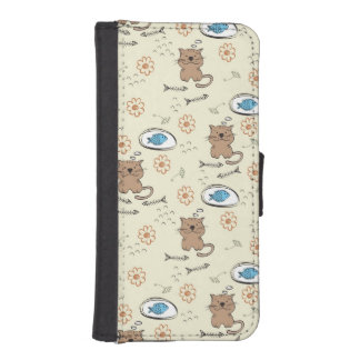 cat and fish pattern iPhone SE/5/5s wallet case