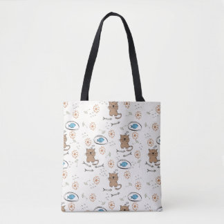 cat and fish pattern tote bag