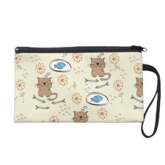 cat and fish pattern wristlet purse