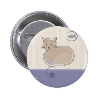 Cat and Fish Pinback Button