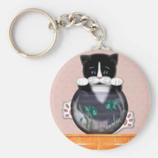 Cat and Fishbowl Keychain