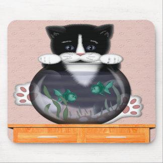 Cat and Fishbowl Mousepad