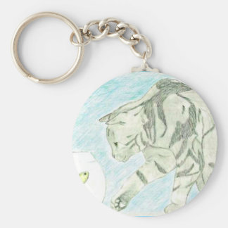 Cat and fishbowl sketch keychain