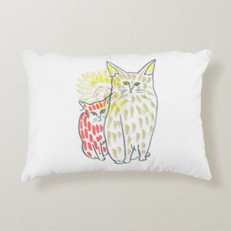 Cat and flower accent pillow