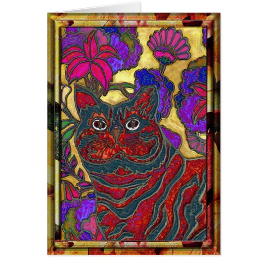 Cat and Flower Art Note Card
