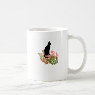 Cat and flower coffee mug