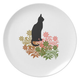 Cat and flower dinner plate