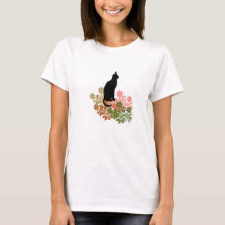 Cat and flower T-Shirt